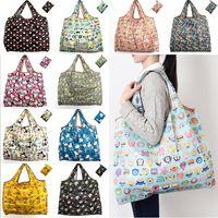 saco eco reutilizável dobrável venda por atacado-Novas nylon impermeável dobrável Sacos reutilizáveis saco de armazenamento compras amigável de Eco Bolsas de Grande Capacidade frete grátis WX9-203