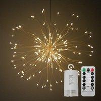 dekoratives feuerwerk großhandel-DIY Faltbare Bouquet Form 150leds LED Lichterketten Feuerwerk Batteriebetriebene Dekorative Lichterketten für Garland Patio Hochzeitsfeiern