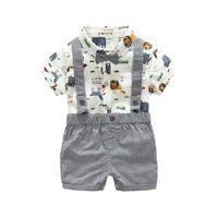Wholesale babys boys - Vieeolove Korea Babys Boys Clothes 2018 New Summer Shoulder-straps cotton print Catoon Top+ Short 2 sets VL-1321