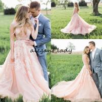 Wholesale blush wedding dresses resale online - 2018 Gorgeous Blush Pink Wedding Dresses Applique Lace Illusion Deep V Neck Sweep Train Garden country Wedding Bridal Gowns