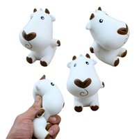 Wholesale cow cartoon toys - Jumbo Cartoon Milk Cow Doll Squishy Slow Rising Bag Cell Phone Straps Charms Keychain Pendant Funny Kid Toy Gift