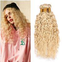 brazilian bakire saç örgüsü satışı toptan satış-Sarışın Su Dalgası Saç Paketler 613 Brezilyalı Virgin İnsan Saç Sarışın Islak ve Dalgalı Saç Uzantıları 3adet Lot Yeni Satılık varış örgüleri