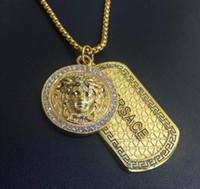 Wholesale Pistol Jewelry - Punk medusa Gold Silver hip hop neckalce Metal Submachine Hatet Maxi Pistol Necklace & Pendants Hip Hop Jewelry for Men Wome