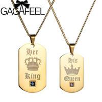 königskrone geschenke großhandel-GAGAFEEL Edelstahl Crown Anhänger Ketten paar ihr König seine Königin Halskette Army Tags für Liebhaber Geschenk