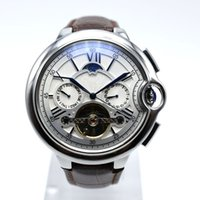 Wholesale hollow skeleton - Tourbillon aaa luxury mens brand leather automatic mechanical watch 42mm hollow skeleton blue balloon designer watches wholesale men's gifts