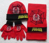 kölelerinin moda toptan satış-2016 Yeni Stil 3 adet / takım Çocukların Kış Karikatür Minions Eldiven Şapka Ve Eşarp Set Moda Çocuklar Bebek Sıcak Örme Caps