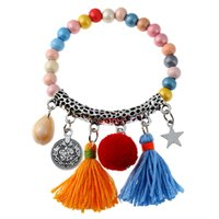 handmade wooden pendants 2018 - Popular Jewelry Retro Handmade Beaded Bracelet Color Wooden Beads Tassel Bracelet Ladies Zinc Alloy Pendant Decoration