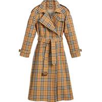 camisas de poliéster venda por atacado-Blusão feminino trespassado cinto no casaco longo Magro estilo britânico primavera temperamento e outono camisa