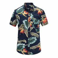 001a626e1f72f Summer Mens Short Sleeve Beach Hawaiian Shirts Cotton Casual Floral Shirts  Regular Plus Size 3xl Mens Clothing Fashion