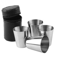 vasos de chupito de plástico al por mayor-4 UNIDS Viajes al aire libre 30 ml tomas tumblerful Set Mini Glasses de acero inoxidable para Whisky Vino