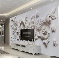 wandmalerei für wohnzimmer großhandel-Benutzerdefinierte Fototapete Europäischen Stil 3D Stereoscopic Relief Blume Wandbild Papier Wohnzimmer Schlafzimmer Nacht Wandmalerei