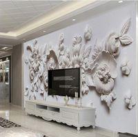 ingrosso pittura murale per salotto-Carta da parati personalizzata foto carta da parati europea stile 3d stereoscopico rilievo fiore murale carta soggiorno camera da letto comodino pittura murale