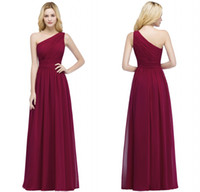 Wholesale stocked one shoulder bridesmaid dresses - 2017 Designer in stock Cheap Bridesmaid Dresses Burgundy Chiffon One Shoulder Bridesmaid Dress Vestidos Formal Prom Party Gowns CPS878