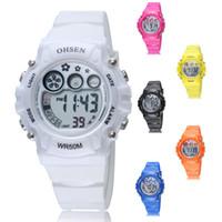 Wholesale red child watch resale online - OHSEN Brand Digital Quartz Children Sports Watches Kids Xmas Gifts Waterproof Rubber Strap Fashion LED Wristwatches