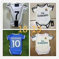 18 meses de ropa al por mayor-18-19 Bebé camiseta de fútbol 6 a 18 meses mono de manga corta bebé triángulo escalada ropa RAMOS Pogba mbappe bebé uniformes de fútbol