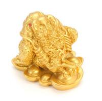 dekoration vermögen großhandel-KiWarm Feng Shui Geld GLÜCK Fortune Wealth Chinese für Frosch Kröte Münze Home Office Dekoration Tabletop Ornamente Glück Geschenke
