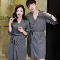 d40b028ec7 Lovers Summer Water Absorption Fashion Towel Bath Robe Men Sexy Kimono  Waffle Bathrobe Mens Plus Size Dressing Gown Male Robes C18110901