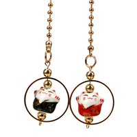 украшение зеркала автомобиля оптовых-Car Rearview Mirror Decoration Cute Lucky Cat Car Pendant Hanging Ornament 50cm Ceramics Alloy Interior Accessories Car-styling