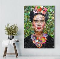 fotos gratis hd al por mayor-Envío gratis Frida Kahlo con flores Figura Wall Posters para la sala de estar Decoración para el hogar Fotos HD Lienzo pinturas al óleo
