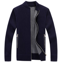 jersey de terciopelo al por mayor-Casual Sweater Men Pullover Clothes Thicken Cardigan Ropa de hombre Velvet Sweaters Hombre Plus Size 3XL Nuevo