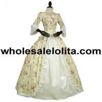 Wholesale period clothing for sale - Top Sale Renaissance Colonial Gothic Period Dress Floral Print Gown Reenactment Clothing