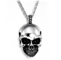 Wholesale skull pendants for men resale online - Skull Necklaces For Women Men Hip Hop Jewelry Sweater Halloween Gifts Long Chain Necklace