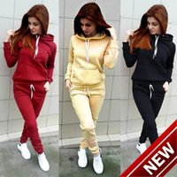 ladies dress suits hats Canada - 2018 Autumn And Winter New Pattern Suit-dress Catch Down Long Sleeve Bring Hat Motion Suit Woman sports ladies tracksuits jogging Print