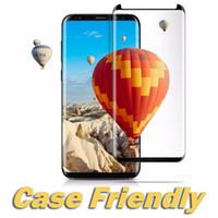 curva de caja al por mayor-Para S9 Protector de pantalla Cubierta completa Protector de pantalla de vidrio templado curvo 3D Estuche amigable para Note 9 S8 Plus S7 Edge S6 Con caja al por menor