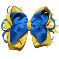 gelbe haarclips großhandel-USD1.5 / PC Große gestapelte Boutique Bögen mit 6cm Clips Royal / Blau / Gelb Grosgrain Ribbon Bögen Gute Qualität Haarschmuck