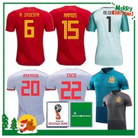 Wholesale Man Uniforms - 2018 Spain world cup Jersey home Away Soccer Jersey Spain home soccer shirt 2019 women ASENSIO MORATA ISCO A.INIESTA Football uniforms sales