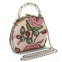 Wholesale Wholesale Beaded Handbags - Wholesale- Chinese Vintage Style Moonflower Beaded Bag Old Shanghai Handbags Cheongsam Matched Bag Lady Dinner Bags 88 88 2017 Popu