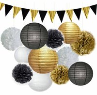 ingrosso decorazioni di nozze bianche in oro nero-Set intero Black White Gold Party Decoration Tovagliolo Pompon Flower Lanterna di carta Wedding Birthday Anniversary Party Hanging Decoration