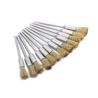 наборы инструментов dremel оптовых-Набор щетки чистки латунный для роторной полируя Меля ручки провода инструмента/ карандаша Dremel пакета 12
