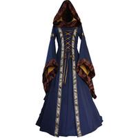 ingrosso vestito lungo gothic xl-Vintage Gothic Piazza collo abiti lunghi Donne medievale abito abito rinascimentale femminile più abiti taglia vestidos mujer vestido