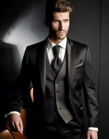 Wholesale Suits For Mens - Custom Made Balck Peaked Lapel Groom Tuxedos Three Pieces Men Wedding Suits Formal Mens Suits For Business Prom Party (Jacket+Vest+Pants)