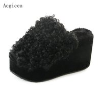 Wholesale used women shoes - 2017 Spring Autumn New Soft Women Slippers Platform 9cm High Wedges Heels Shoes Woman House Use Cute Brand Fur Ladies Slippers