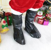 traje homens santa claus venda por atacado-Bota de Papai Noel Cobre homens mulheres Natal Fancy Dress Costume cospaly Santa Claus Tampa de Sapato Decoração de Natal LJJK1069