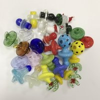 Wholesale glow dark glasses wholesale - 2018 Newest Carb Cap Nails UFO 25mm 35mm OD Colored Glow in The Dark Glass Carb Caps Nail For Quartz Thermal Banger