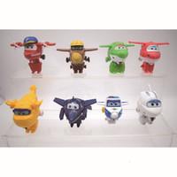 ingrosso giocattoli decorativi per ufficio-8 pezzi Set Super Wings Plastica Action Figure Deformable Toy For Kids Giocattoli Office Cake Decoration 14 5sy UU