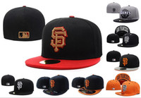 Wholesale top hat pieces - Retail One Piece Men's Giants fitted hat flat Brim embroiered SF letter team logo fans baseball Hat top quality giants full closed Chapeu