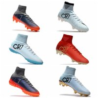 Wholesale Indoor Soccer Sneakers - Top Quality Original Cristiano Ronaldo Mercurial Superfly v FG CR7 Football Boots Golden Soccer Shoes mens Training Sneakers Soccer Cleats