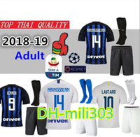 Wholesale uniform sets for sale - 2018 ICARDI home Soccer jersey kit NAINGGOLAN LAUTARO PERISIC adult full Set Sock Milan Maillot de foot football shirts uniforms