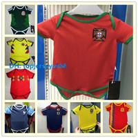Wholesale Football Jerseys Babies - Portugal baby jersey 2018 World Cup kids soccer jersey Ronaldo SILVA J.MOUTINHO NANI 6-18 month Jumpsuit baby football jersey shirt