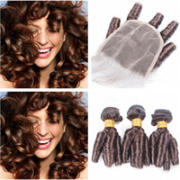 cyssic k toptan satış-# 4 Koyu Kahverengi Perulu Teyze Funmi İnsan Saç Kapatma ile 3 Demetleri Bahar Bukleler Çikolata Kahverengi 4x4 Ön Dantel Kapatma ile Örgü