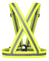 chalecos de seguridad negros al por mayor-Chaleco reflectante Ligero, Elástico ajustable Seguridad Alta visibilidad para correr correr Caminar ciclismo Chaqueta de motocicleta DK9100FG