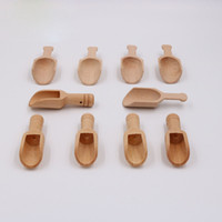 Wholesale Wooden Salt Spoons Wholesale - Mini Salt Tea Spoon Tableware Natural Wooden Crafts Spoon Small Condiment Sugar Scoop Free Shipping ZA6173
