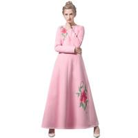 invierno maxi vestido de lana al por mayor-Lana de invierno de lujo vestido largo bordado fiesta de año nuevo Maxi ropa musulmana rosa vestidos DH1066