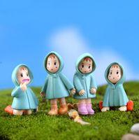 ingrosso mini figurine-5 pz / set Casuale Figurine in miniatura Ragazza Totoro Mini Fata Ornamenti da giardino Cartoon Persone Resina Artigianato Terrario Ornamenti