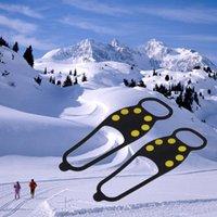 ingrosso crampi di gomma-New Black Rubber Durable Ice Snow Scarpa antiscivolo Spikes Impugnature Crampons Ice Snow Shoe Spikes