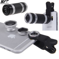 Wholesale iphone zoom resale online - 4in1 X Telephoto Lens Optical Zoom Lenses Mobile Phone Camera Fisheye x Wide Macro lens For iPhone Samsung Huawei Xiaomi
